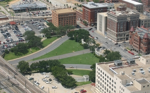 Dealey Plaza arial photograph sight of JFK brutal Assassination