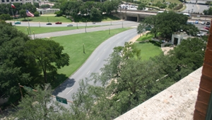 Dealey Plaza view from sixth floor where Lee Harvey Oswald shot JFK