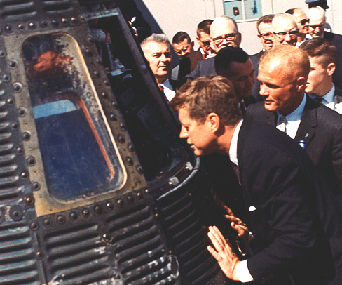 JFK President Kennedy inspects Mercury Capsule 23 February 1962