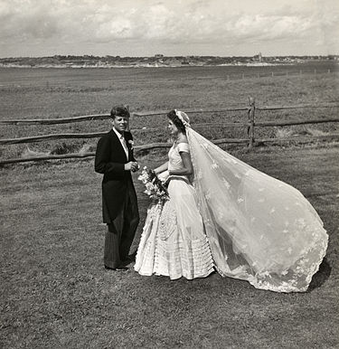 Jackie Kennedy wore her grandmother's bridal veil at her wedding to Jack Kennedy.