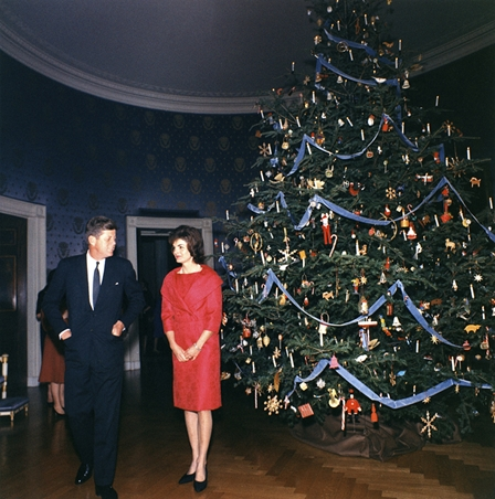 President and Mrs. Kennedy with the 1961 White House Christmas tree.