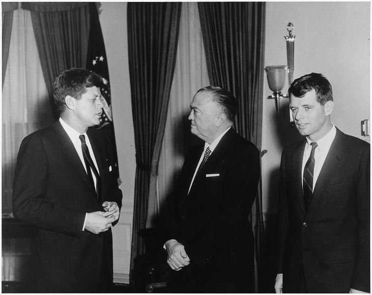 President John F Kennedy J Edgar Hoover Robert Kennedy