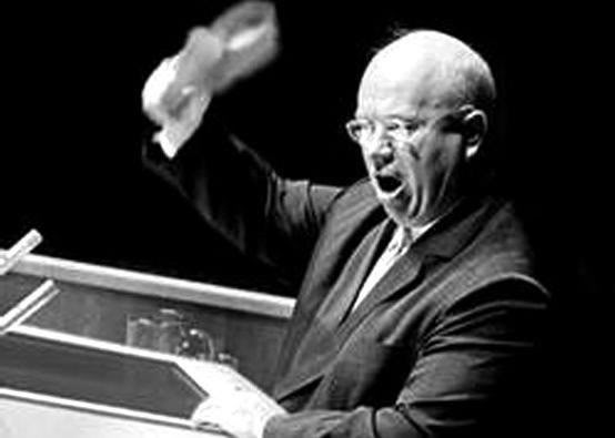Nikita Khrushchev bangs his Shoe at the UN