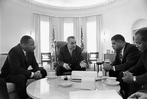 LBJ Lyndon Johnson meeting with civil rights leaders